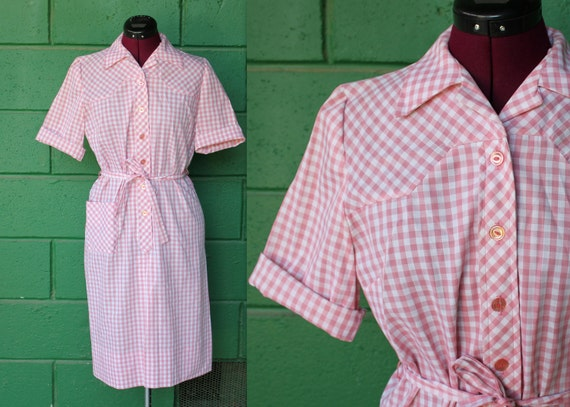 60s pink gingham day dress western NOS