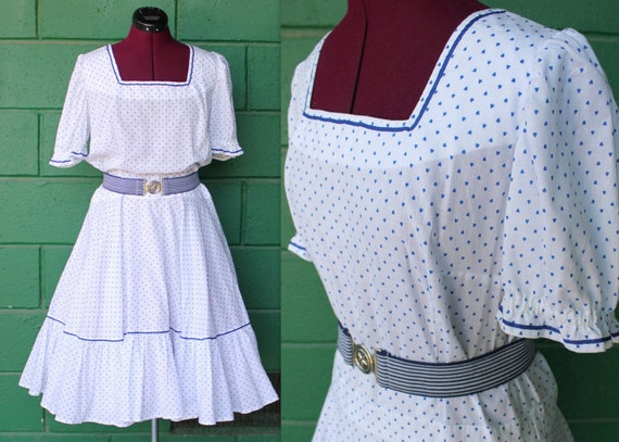 1950s blue hearts cotton novelty print square dancing dress XL
