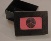 Pink and Brown Peace Sign Box-jewelry or gift or keepsake box