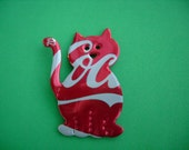 Coca Cola Cat Recycled Soda Can Magnet or Pin