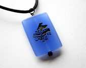 Piano Engraved Blue Quartz Gemstone Music Necklace