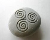 Triskele Engraved Stone Female Power Triple Spiral Celtic Symbol