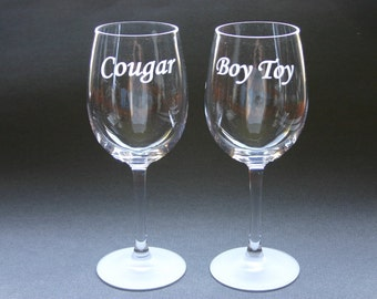 Custom Engraved Wine Glasses Set of 2 Personalized Etched Glasses