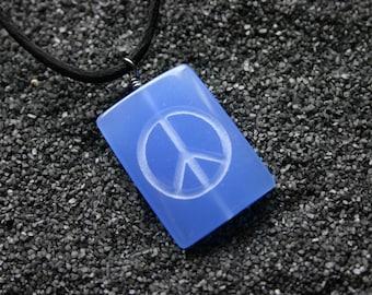Peace Sign Engraved Blue Quartz Gemstone