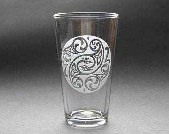 Celtic Design Engraved Beer Glass Etched Pint