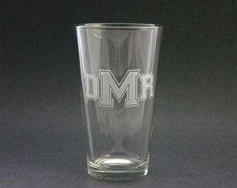 Monogram Beer Pints Etched Glass Set of 6 Glasses