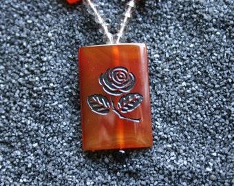 Black Rose Engraved Carnelian Pendant Beaded