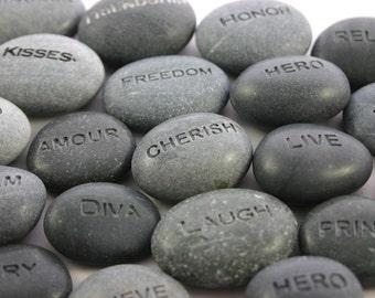 Custom Engraved Word Stone Personalized Grey Stone