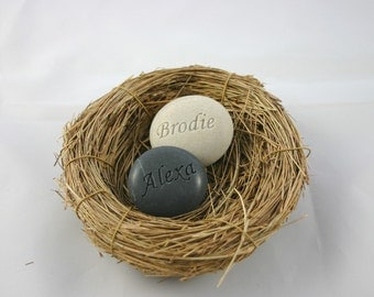 Love Nest Custom Engraved Stone Set of 2 Grey and White Stones
