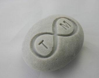 Custom Infinity Engraved Initials Stone Eternity Love Rock Weddings