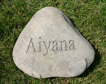 Custom Engraved Garden Stone Name Stone Address Marker Weddings