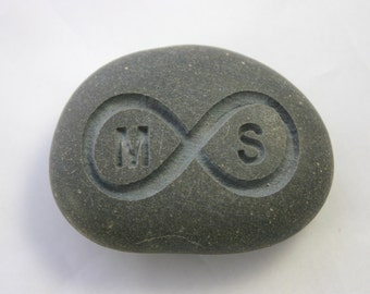 Infinity Stone Custom Engraved Initials Grey Eternity Love Rock Personalized Weddings