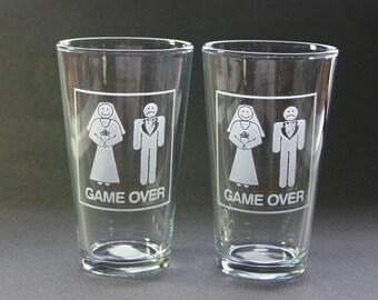 Game Over Etched Beer Pints Weddings Glasses Funny Wedding Pint Bride Groom