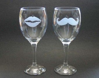His and Hers Etched Wine Glasses Lips Moustache Engraved Goblets