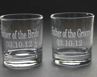 Custom Etched Rocks Glass Set of 6 Personalized Weddings Fathers Day Hi Ball Scotch