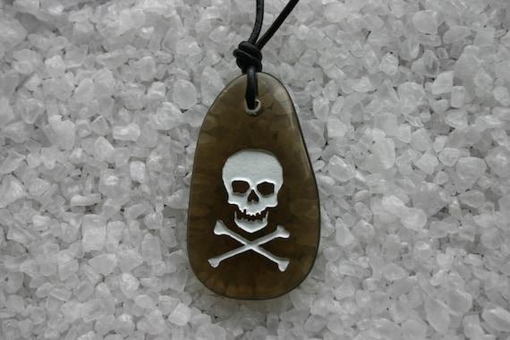 Skull Crossbones Engraved Smokey Quartz Gemstone