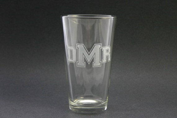 Monogrammed Glass Beer Pints Etched Set of 2 Weddings Gifts Engraved Beer Glasses