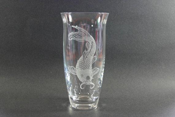 Koi fish etched vase japanese carp by monkeysjewels on etsy for Koi fish vase