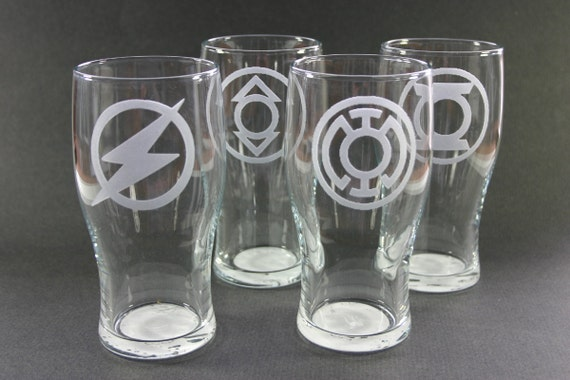 Custom Etched Beer Pints Pub Glasses Set of 4 Pilsner