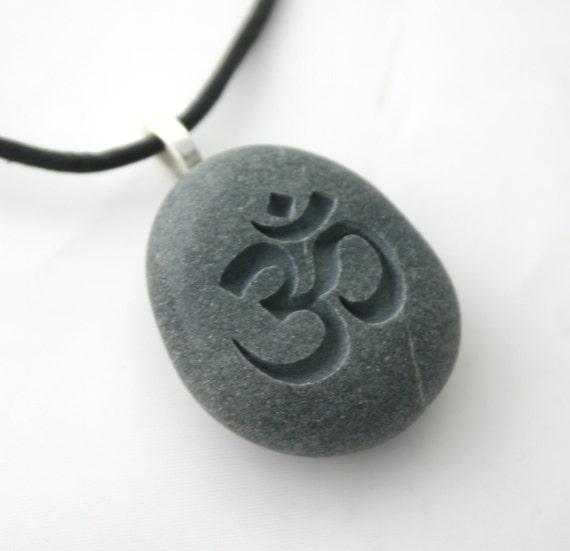 Om Aum Symbol Engraved Grey Stone