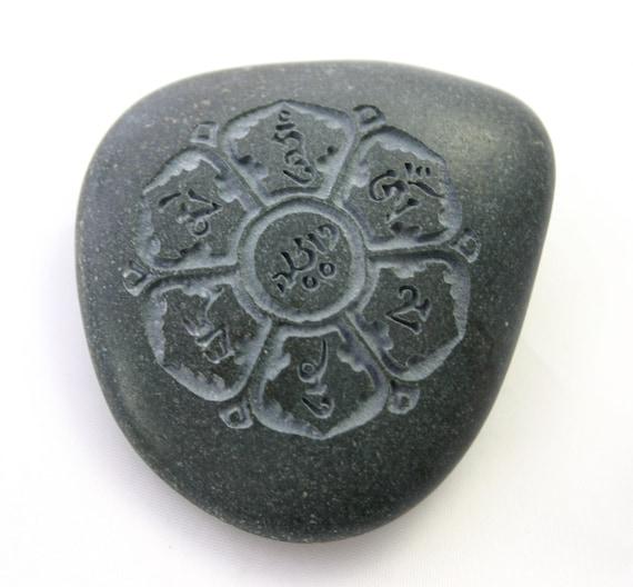 Om Mani Padme Hum Tibetan Script Engraved Grey Stone Mantra Prayer
