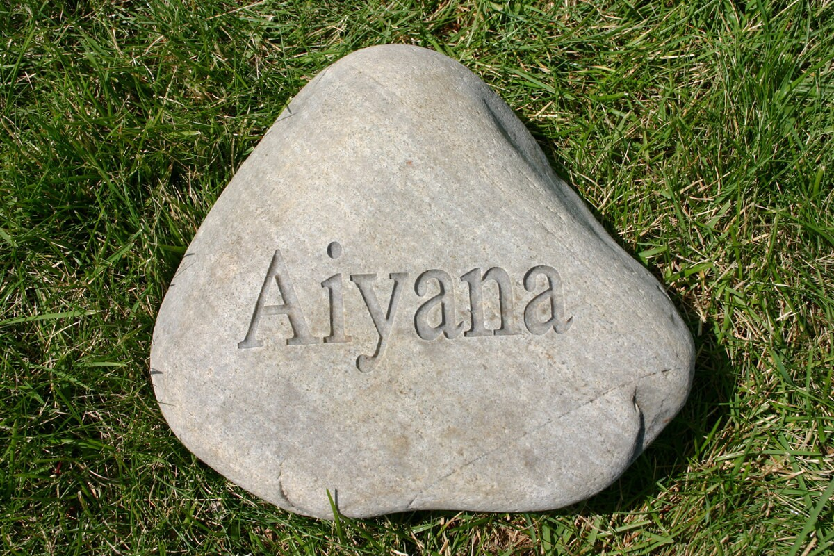 Landscaping Rocks Names : Custom engraved garden stone name address marker