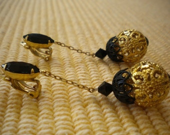 Lewis Segal Black and Gold Earrings