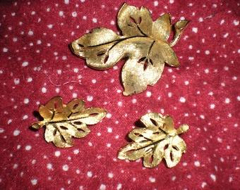 Gold Leaf Brooch and Earrings-BSK