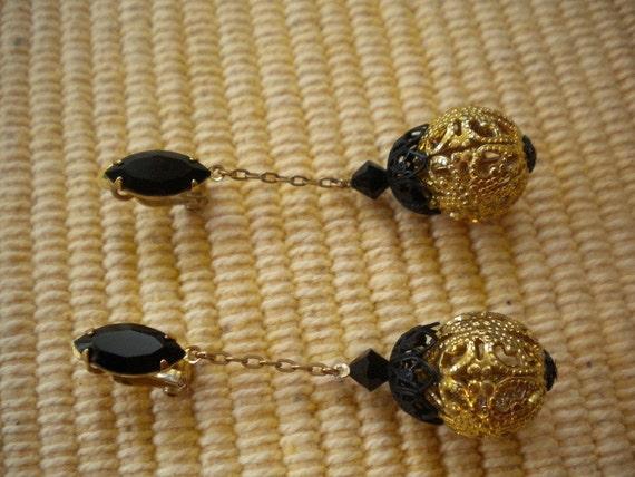 Lewis Segal Black and Gold Earrings
