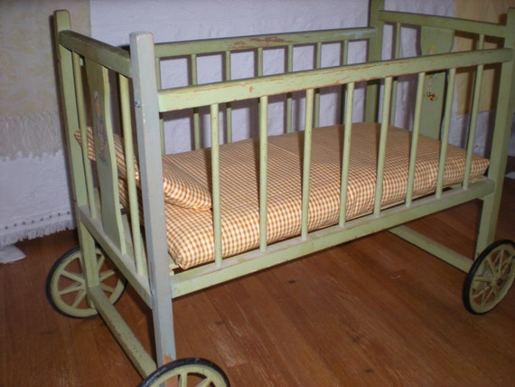 Vintage Doll Bed on Wheels
