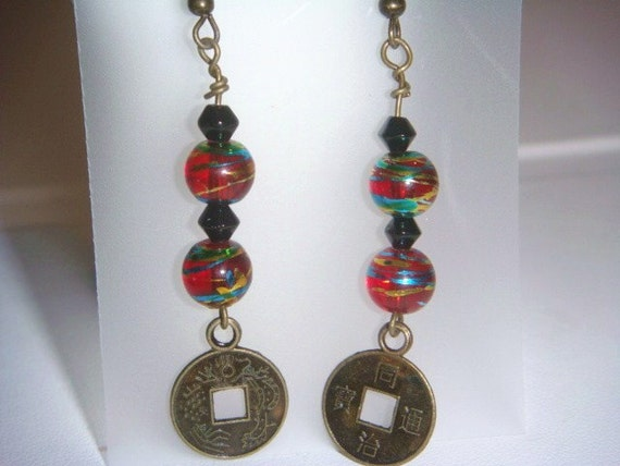PIF Chinese Good Luck Coin Earrings