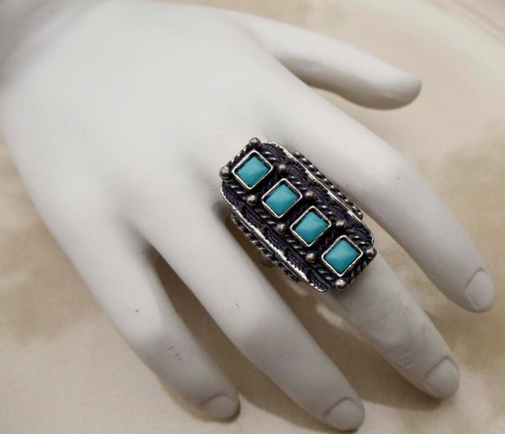Vintage silver turquoise ring adjustable band large cocktail ring