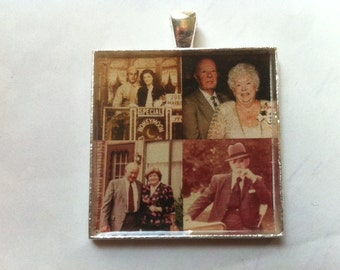 Custom Personalized Photo 35mm square pendant to wear as a necklace or  Wedding Bouquet Charm