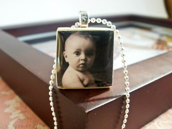 Custom, personalized Photo Upcycled Scrabble Tile Pendant