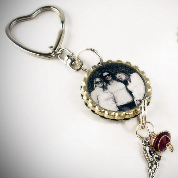 CUSTOM Double Bottle Cap Photo/Picture Key Chain with Circle or Heart ring and charms at the Bottom