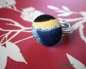 PAINTERS PALETTE vintage knit fabric button ring