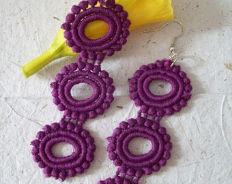 Purple rain lace earrings
