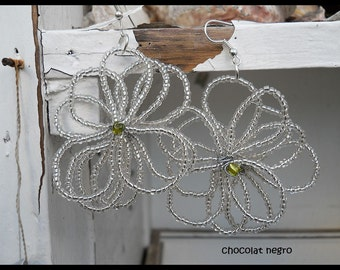 ICE Flowers, wire wrapped and beaded flower earrings, South Africa