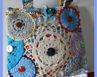 A SECOND LIFE, recycled knitted bag adorned with crochet beauties, South-Africa