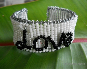 LOVE AND FRIENDSHIP urban design wire art beaded bangle