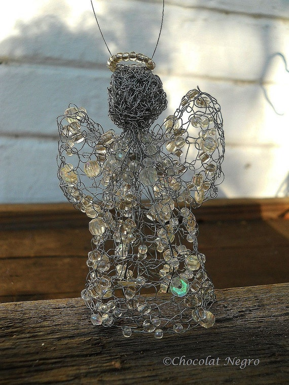 The Crystal Guardian Angel - Not Only Christmas Decoration Wire Angel With BEADS, SOUTH-Africa