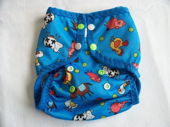 Cloth Diaper Cover Blue A Doodle Cows One Size Fits Most FOE Bound PUL by Soothe Baby