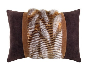 Rustic Faux Fur and Micro-suede Decorative Pillow 12 x 17 inches