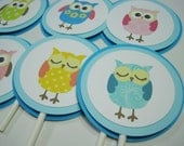 SALE/CLEARANCE Hoot Cupcake Toppers - Blue
