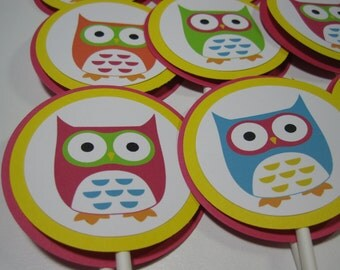 SALE/CLEARANCE - Mod Owl Cupcake Toppers