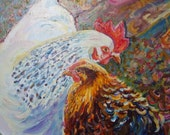 Rooster and Hen painting