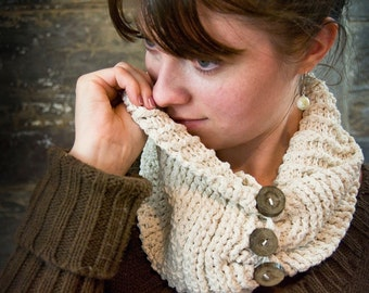 Crocheted Cowl PATTERN Ribbed Scarflet, Scarf, Winter Scarflet, Almost Looks Knitted Autumn Cabin Cowl