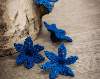 Crochet Flower PATTERN Crocheted Bluebell Flower PDF Applique Embellishment