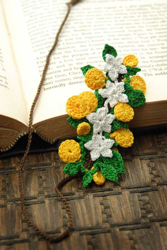 Crocheted Bookmark, Oranges and Blossoms On a Branch