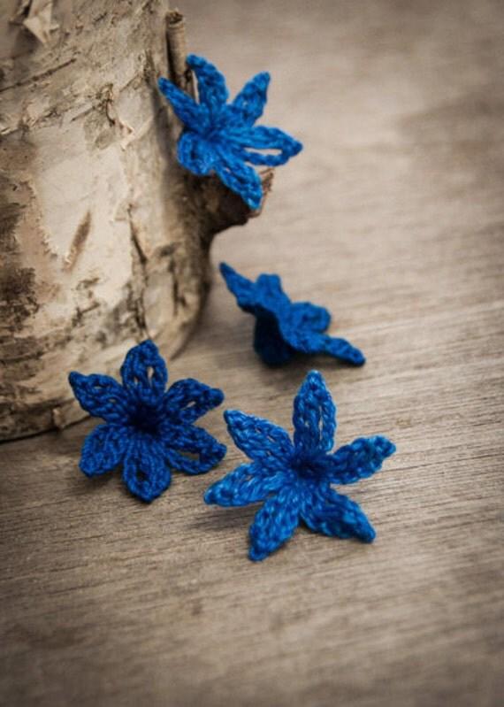 Crochet Flower PATTERN Crocheted Bluebell Flower PDF Applique Embellishment